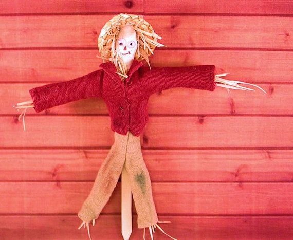 Fall or Halloween scarecrow character doll in red shirt and straw hat. 1 to 12 dollhouse scale. Handmade in USA.