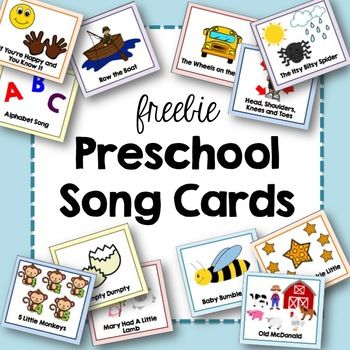 Preschool song cards include: The Itsy Bitsy Spider Baby Bumble Bee The Wheels on the Bus Head, Shoulders, Knees, and Toes The Alphabet Song Twinkle Twinkle Little Star Row the Boat Old McDonald Mary Had A Little Lamb 5 Little Monkeys Humpty Dumpty If You're Happy and You Know It