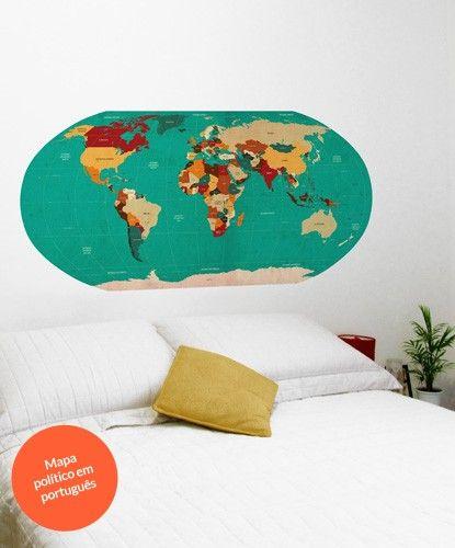 Mapa mundi world map adesivo de parede shopkola