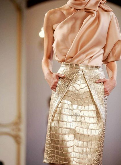 Details: Christophe Josse, Haute Couture Spring/Summer 2012.: Colors Combos, Woman Fashion, Christopher Joss, Pencil Skirts, Blushes, Bridal Shower Outfits, Gold, Peaches, Haute Couture