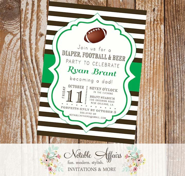 diaper football and beer party stripes invitation choose your colors and wording