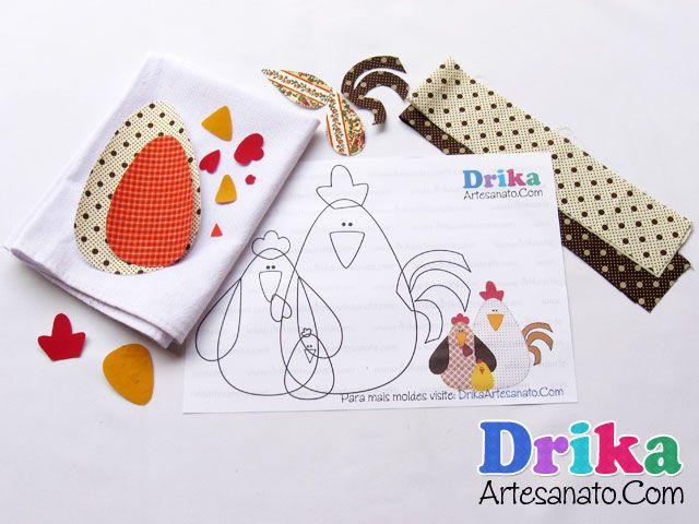 Pano de prato com barrado diferente - Drika Artesanato