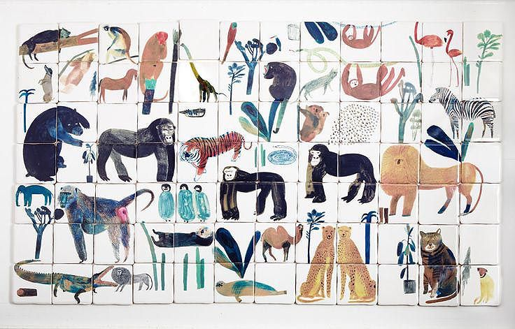 Amazing animal tiles by Laura Carlin would make enviable eye candy for a mosaic panel in your toutoune's tiny space.