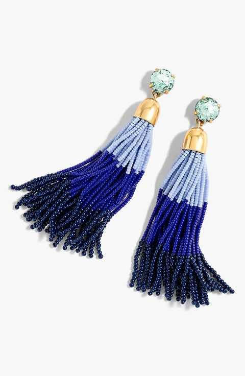 J. Crew Colorblock Bead Tassel Earrings