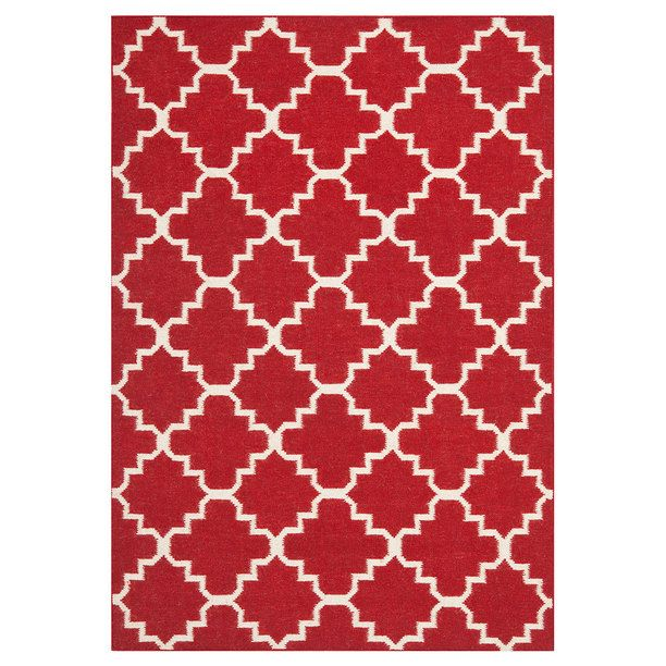 Color Trend 2017 Poppy Red Sabine Dhurrie 8x10 Rugs Ivory