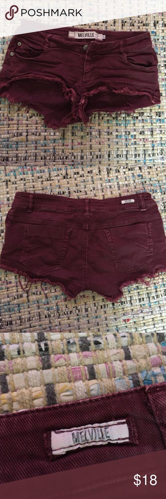 Brandy Melville shorts Brandy Melville maroon jean shorts Brandy Melville Shorts Jean Shorts