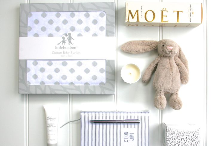 Beautiful Mum n Bub's (Baby Boy) Gift Box … for the little one, some gorgeous all natural and organic soothing baby moisturiser, a gorgeous soft grey and white polka dot baby blanket and the most beautiful and fluffiest Bashful Beige Bunny! For Mum, the beautiful White Musk & Warm Vanilla Celebration candle and a beautiful Kikki K 'Baby Notes' notebook and silver rollerball pen. Oh! And a beautiful bottle of Moet & Chandon Brut Imperial Champagne … just for Mum to enjoy!  Your beautiful…
