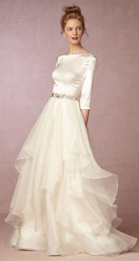 Featured Dress: BHLDN; Quarter length sleeve silk wedding dress idea.