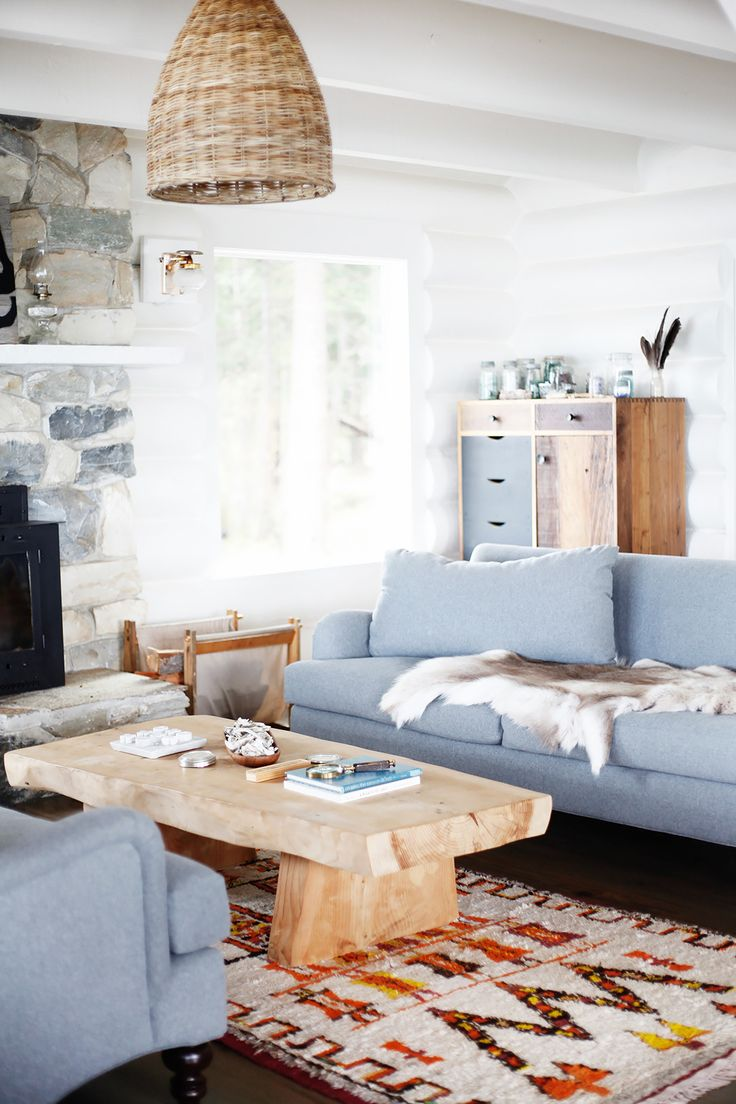 Inside A Restored Midcentury Log Cabin We All Want To Retreat Living Room InspirationOpen SpacesLight Blue CouchesBlue
