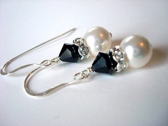 Jet black and white natalie earrings are handcrafted with 6mm jet Swarovski crystals, 8mm white Swarovski pearls, and sterling silver findings. by AFinishingTouch, $60.00 - mens jewelry cheap, cheap real mens jewelry, silver mens jewelry
