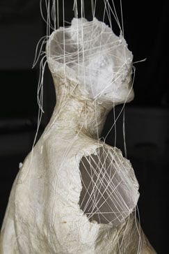 "Erin Tucker Untitled Thread, tissue paper, glue, offe 5'3""x1'6""x7"" 2013 MFA Sculpture"