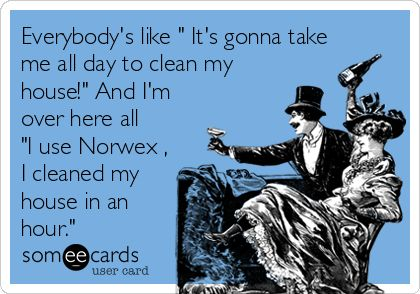 Everybody's like ' It's gonna take me all day to clean my house!' And I'm over here all 'I use Norwex , I cleaned my house in an hour.'
