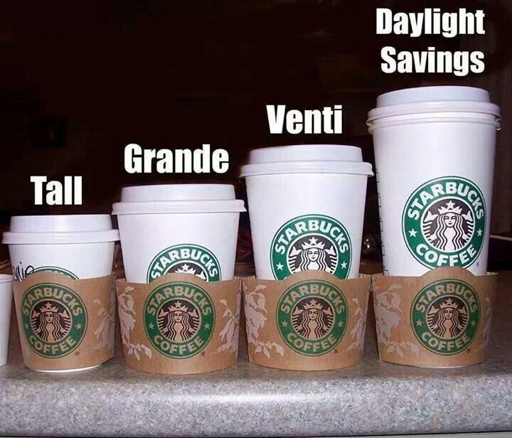 November 1, 2014- I thought it would it would be humorous to repin this Starbucks version of Daylight Savings just celebrate the fact that today is the last day before setting our clocks back an hour for Daylight Savings. Be prepared! :)