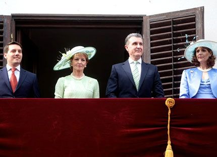 royalhats:  Romanian Princesses Host Garden Party at the Elisabetha Palace, Bucharest, Romania, May 15, 2014-Prince Nicholas, Crown Princess Margareta, Prince Radu, Princess Maria