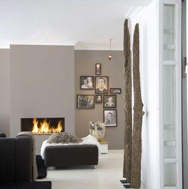 Pour la couleur de ce salon, belle association de couleurs de peinture naturelles sur les murs avec un gris souris et un brume qui souligne la pureté des lignes du mobilier contemporain. Plus de photos sur Déco Cool http://petitlien.fr/7vpb