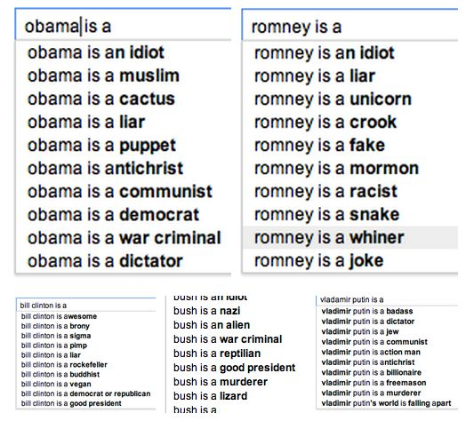 Google autofill.    Obama is a cactus. Romney is a unicorn. Bush is a lizard. Bill clinton is a brony. Vladamir putin is a freemason.    #unicorn #screenbgrab #romney #obama #cactus #putin