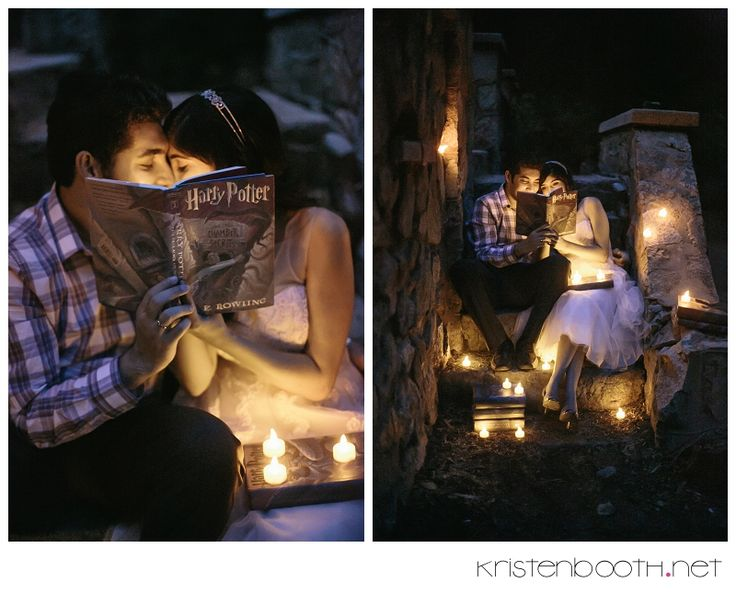 Magical engagement photos! but instead of the harry potter books, make it the bible!