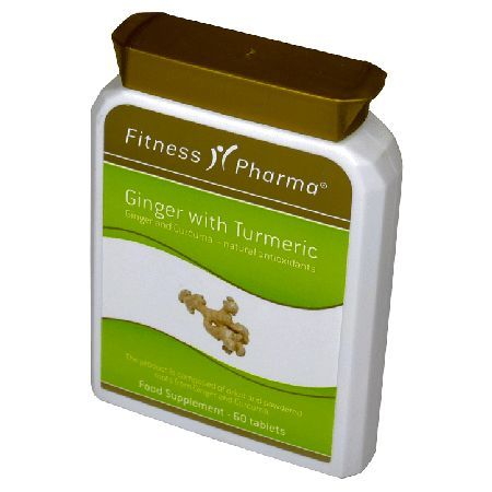 Fitness Pharma Ginger with Turmeric Tablets - Ginger and Curcuma ? natural antioxidants. The product is composed of dried and powdered roots from Ginger and Curcuma. http://www.MightGet.com/march-2017-1/fitness-pharma-ginger-with-turmeric-tablets-.asp