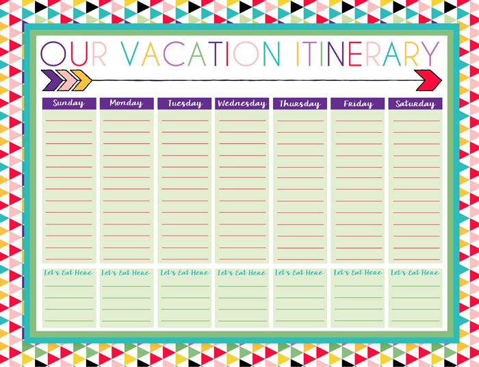 Free Printable Daily and Weekly Vacation Calendars   Six Designs   Instant Downloads
