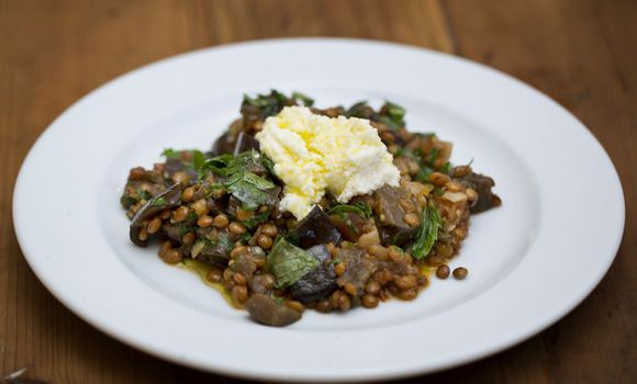 Maggie Beer's Moroccan�Eggplant and Lentils with Pomegranate Molasses and Ricotta
