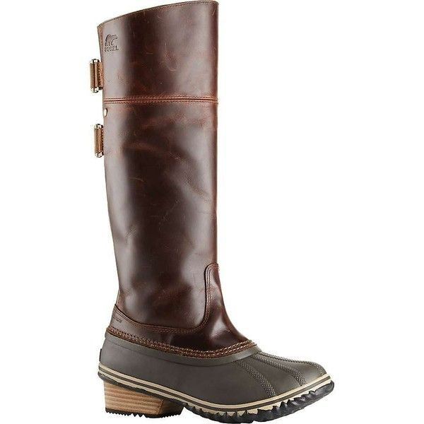 Sorel Women's Slimpack Riding Tall II Boot (10.680 RUB) ❤ liked on Polyvore featuring shoes, boots, sorel boots, knee high leather boots, waterproof boots, waterproof leather boots and tall boots