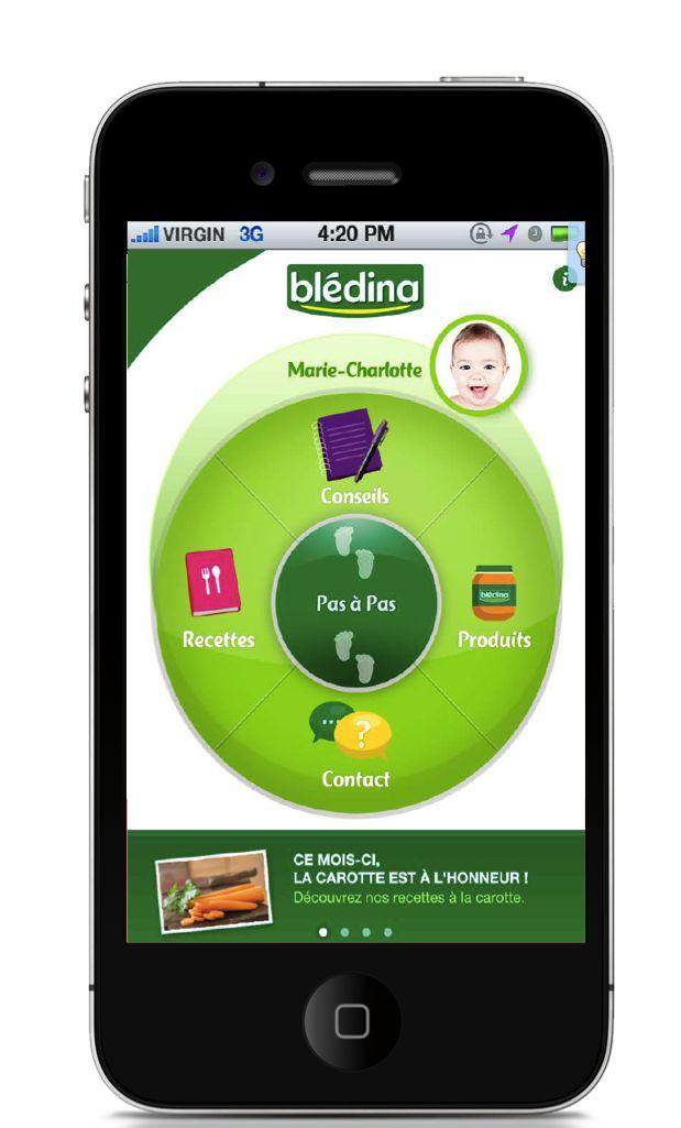 MyBlédina Application mobile - Home