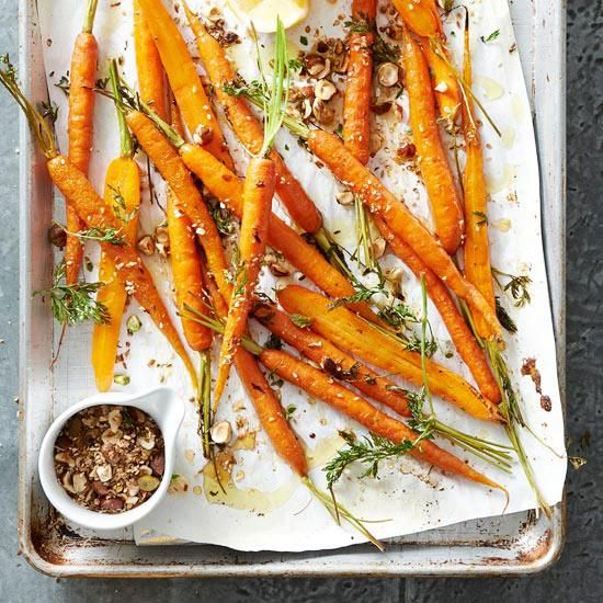 Spice- and Honey-Roasted Carrots / BHG | is it too hot outside to be roasting? cause I want this...