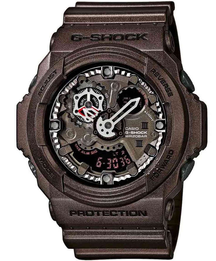 CASIO G-Shock Anadigi Brown Rubber Strap Η τιμή μας: 182€ http://www.oroloi.gr/product_info.php?products_id=36492