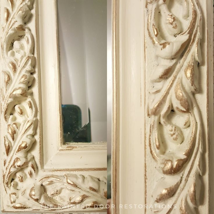 Detailed shot of the mirror with gold gilding wax from the Antoinette/Old White Vanity.