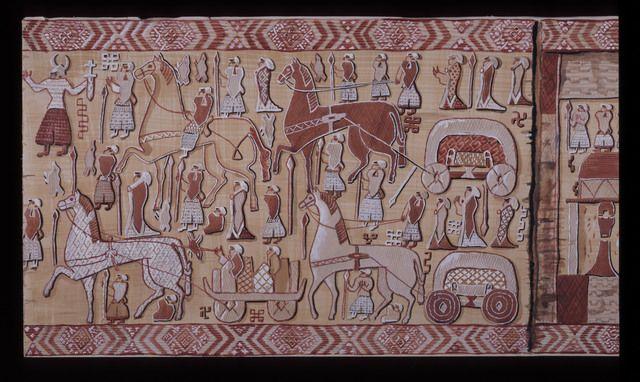 Reconstruction drawing of the Oseberg tapestry. Kulturhistorisk museum, Oslo.