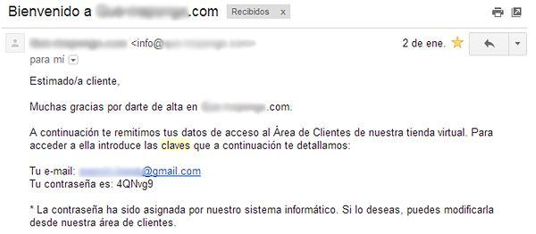 Ejemplo de email de recuperación de contraseñas
