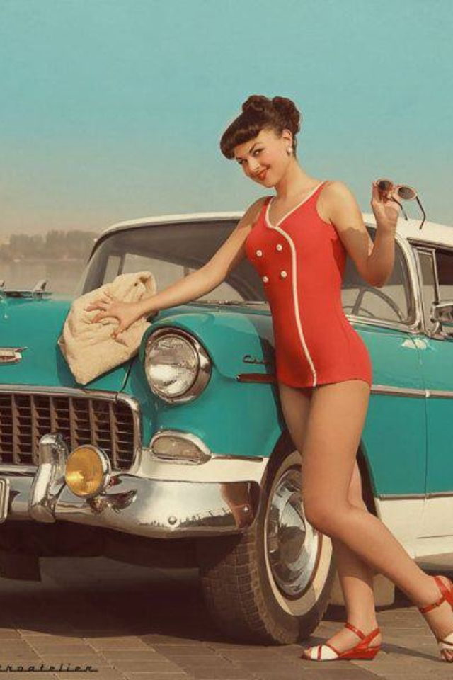 Pin up girl and classic car | Retro Style | Pinterest
