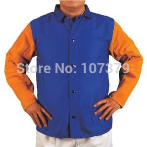 Split Cow Leather Welding Clothing Leather Welding Aprons FR Cotton Leather Welding Jackets