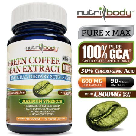 nutribody Green Coffee Bean Extract - Made with 100% PURE GCA® (Green Coffee Antioxidant), 600mg GCA® Per Capsule, 90 Vegetarian Capsules, 30 Days Supply of 1800mg GCA®, Standardized 50% Chlorogenic Acid, Maximum Strength Natural Weight Loss Supplement, Fat Burner >> green coffee bean extract --> http://www.amazon.com/nutribody-Green-Coffee-Bean-Extract/dp/B00E4L707W/?keywords=green+coffee+bean+extract