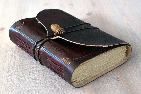 Leather Journal Burgundy and Gold OOAK Red Leather by codice