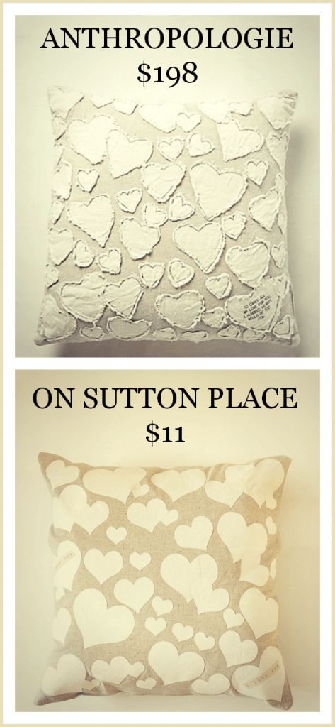 DIY Anthropologie Inspired Heart Collector Pillow-- save almost $200 and DIY it yourself! | On Sutton Place