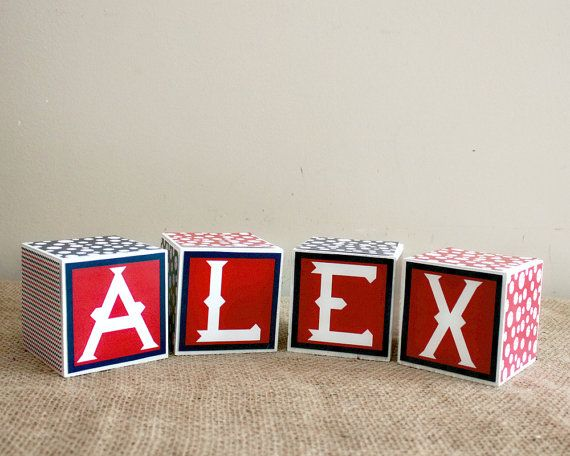 Baby Name Blocks - Personalized Baby Blocks - Baby Shower Gift - Unique New Baby Present - Nursery Decoration - Baseball Theme Baby Blocks