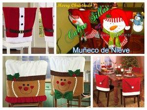 ¿Qué os parecería elaborar fundas para sillas en forma de Papá Noel, muñeco de nieve...?
