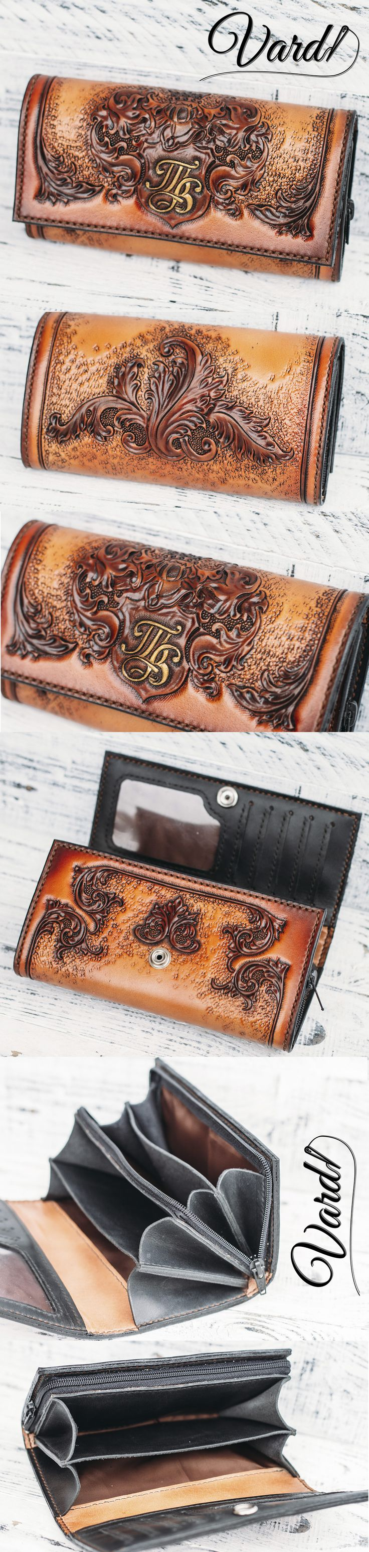 Handcrafted leather wallet, Vardi Craft Handmade long leather wallet woman, girl vintage gray long wallet, monogram, baroque, retro, coat of arms