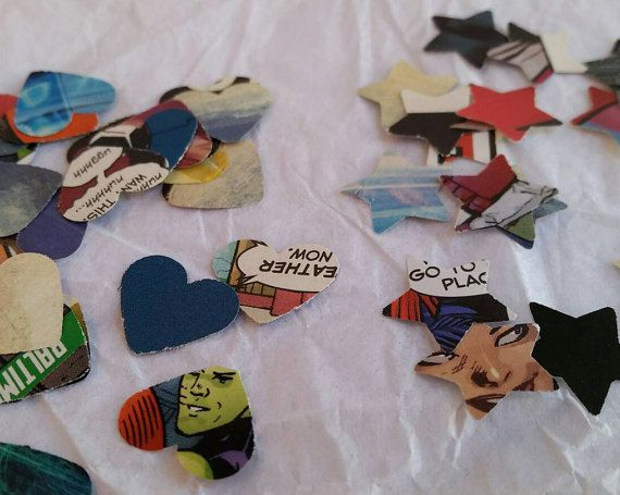 Comic book confetti. Upcycled party supplies made from genuine comic books  Great for geeky weddings or comic book birthday parties!  By Peachy Customs
