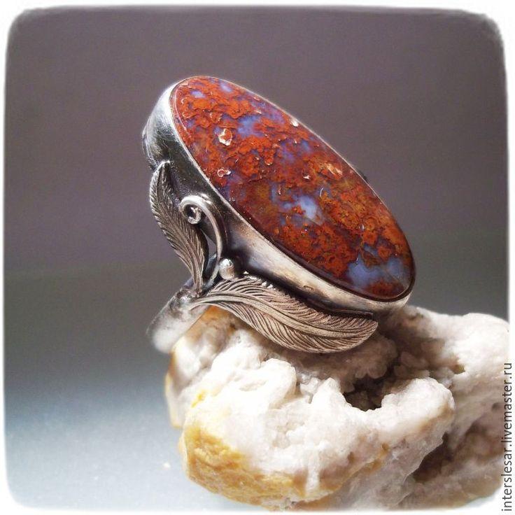 """Купить Агат венгерский кольцо """"Перо"""" - комбинированный, агат венгерский, кольцо с камнем, серебряное кольцо"""