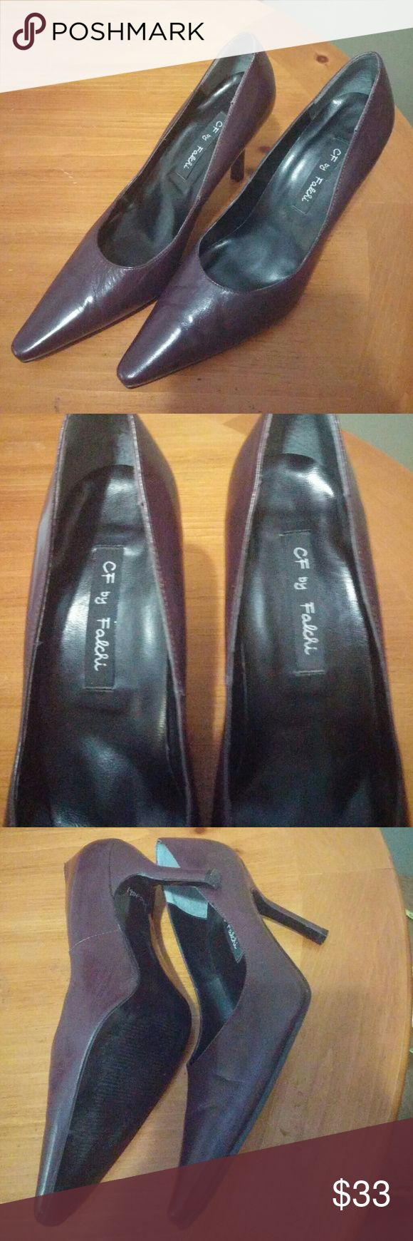 Like new beautiful CF by Falchi deep purple pumps! Carlos Falchi heels with Leather upper and 3.5 inch heel height in excellent condition. Very comfortable just a half size too big for me. Cf by Falchi Shoes Heels