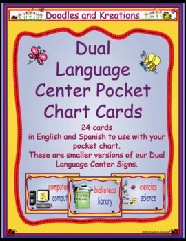 Dual Language Pocket Chart Center Signs go along with our Dual Language Center Signs.$3.00  Use them in your pocket to help organize students when visiting centers.