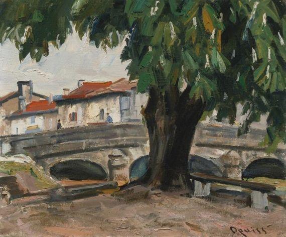 POISSON, HAUTE MARNE. MARRONNIER PRÈS DU PONT by Takanori Oguiss, oil on canvas | MutualArt.com