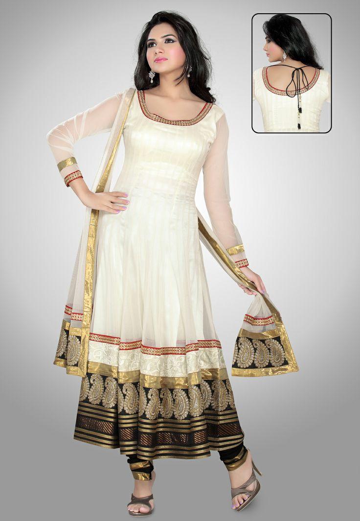 Off White Net Readymade Anarkali Churidar Kameez @ $128.41