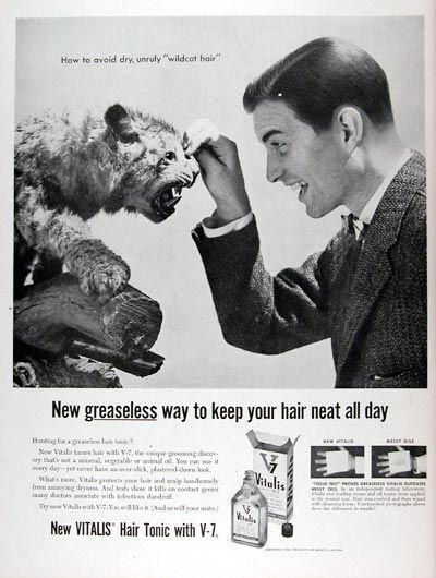 vintage hair ads | 1956 Vitalis Hair Tonic Classic Vintage Print Ad