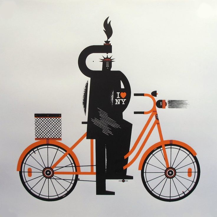 2016 Geometric Lady Liberty on a Bike - Raymond Biesinger. Raymond Biesinger is an artist based in Montreal, Canada. He uses complex geometry and North American political history to make his images.
