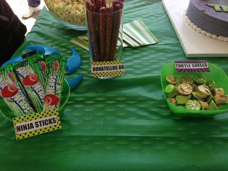 Ninja Turtle Party Food Ideas Airheads Reeses Preztels