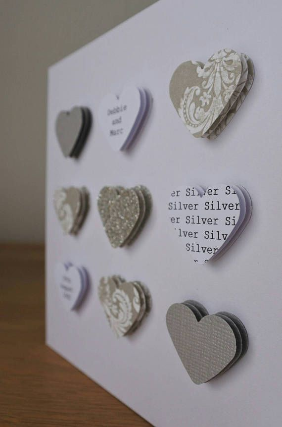 Handmade Personalised Silver Wedding Anniversary Card 25th 25