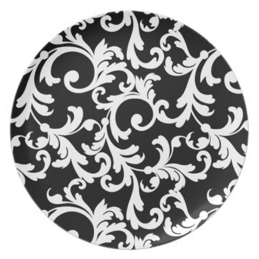 Black Elegant Damask Dinner Plate